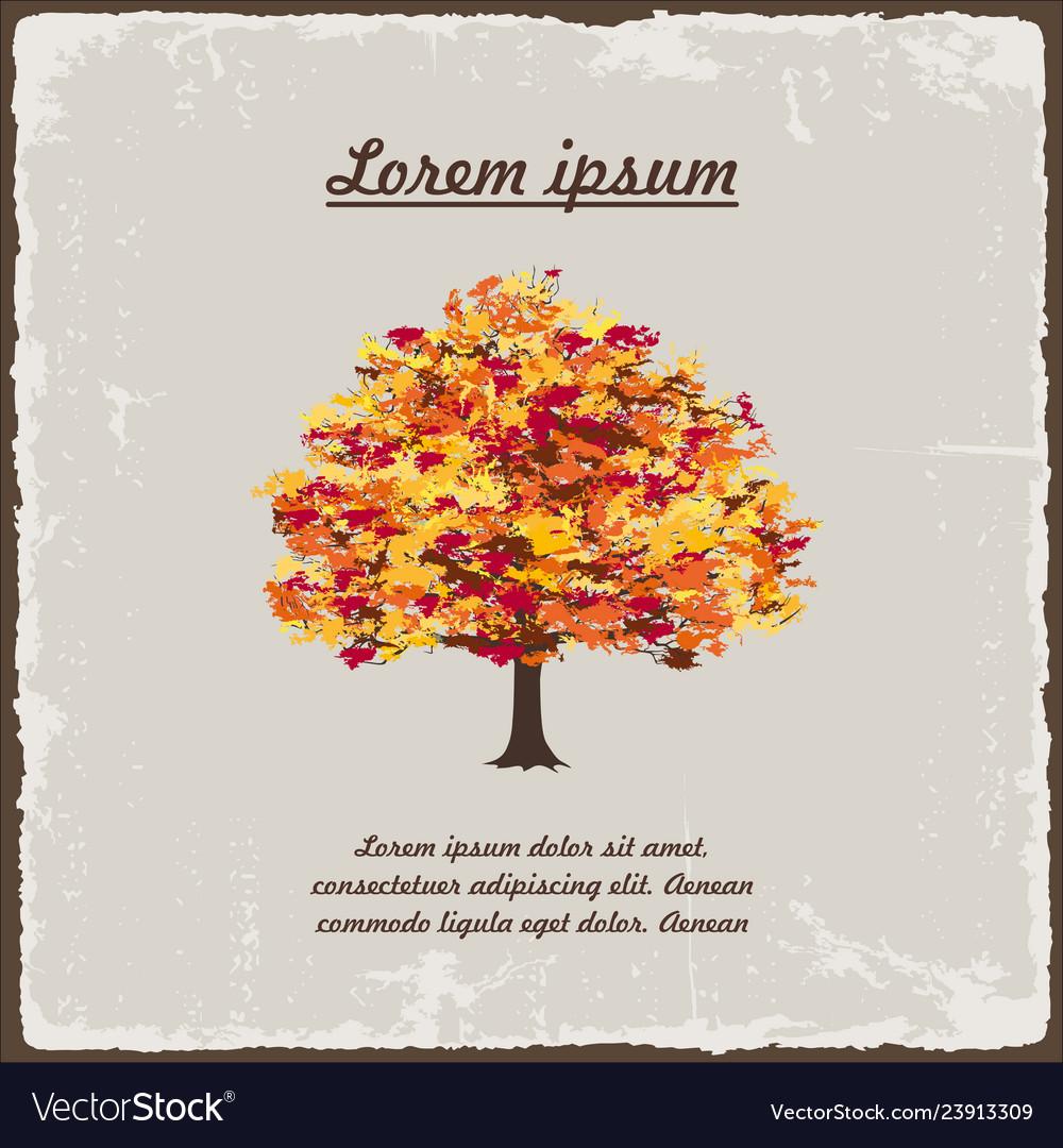 Old autumn tree on vintage background