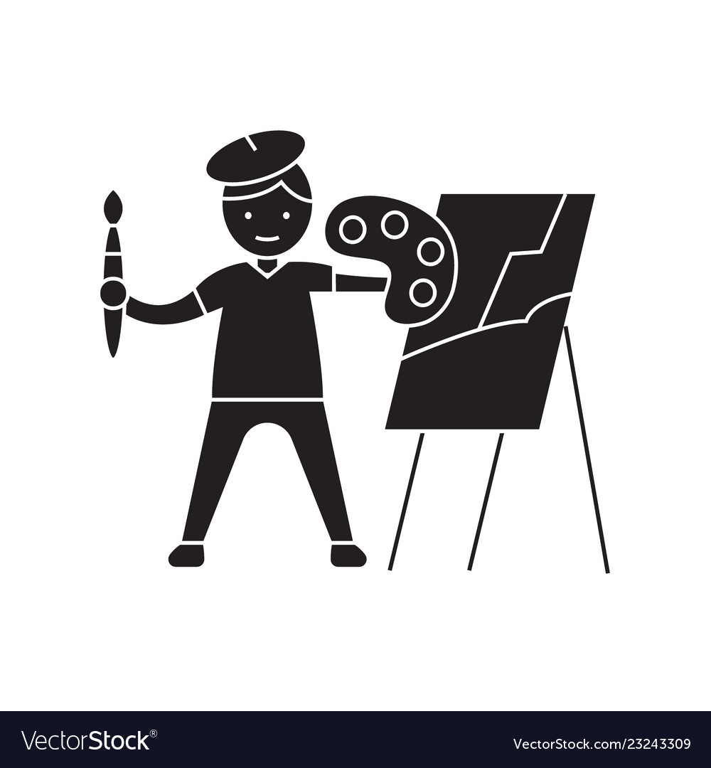 Painting a picture black concept icon