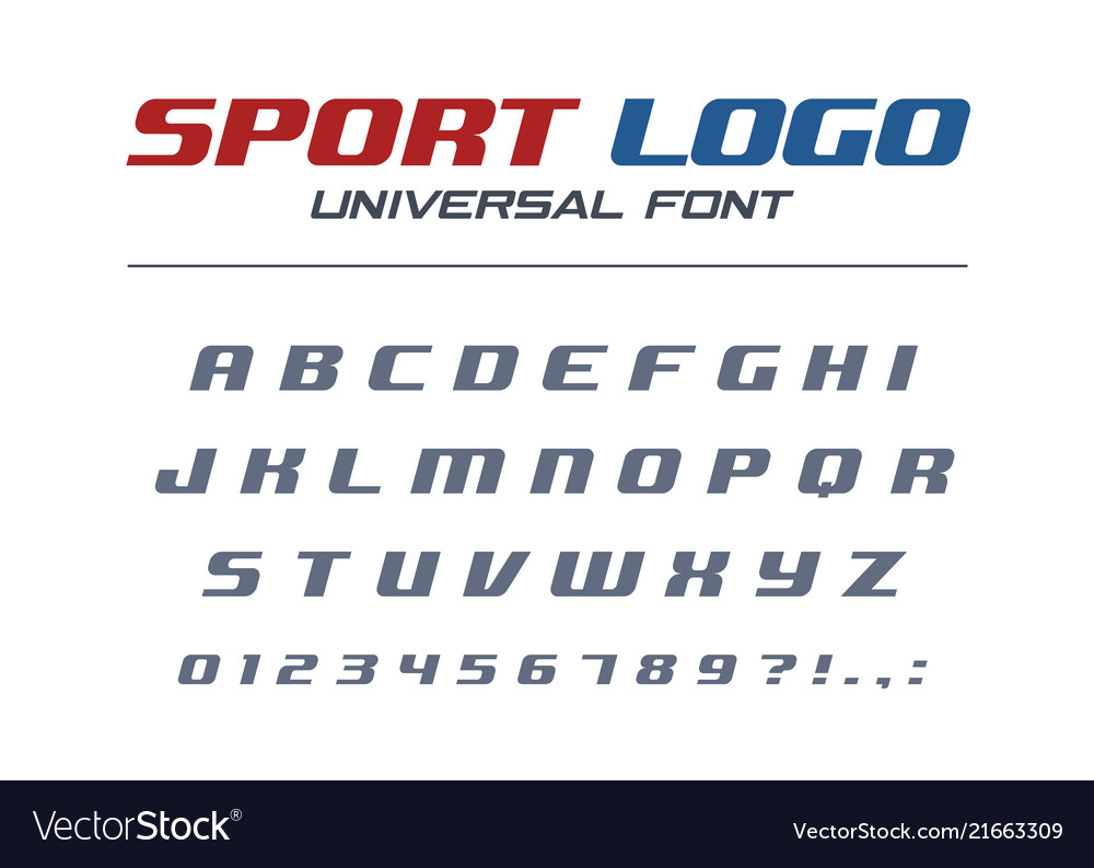 Sport logo universal italic font fast and strong