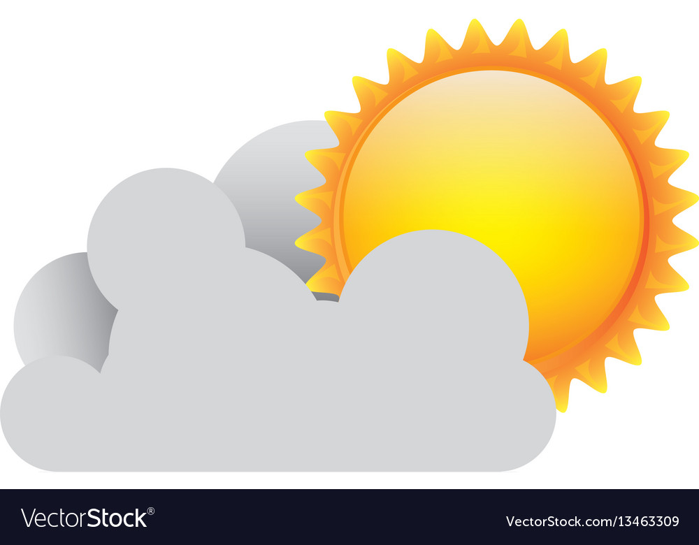 White cloud with sun icon