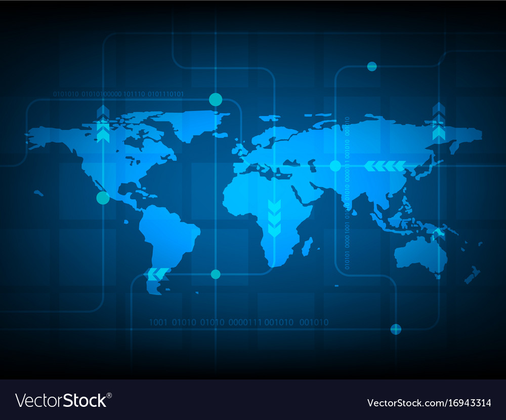 Abstract world map digital technology background vector image gumiabroncs Choice Image