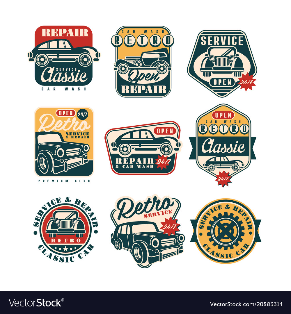 Car service and repair vintage style labels set