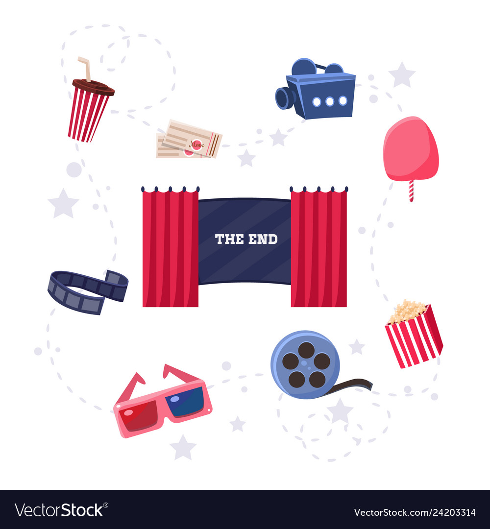 Cinema flat design elements and icons