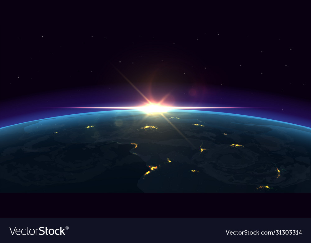 Earth view realistic night background planet