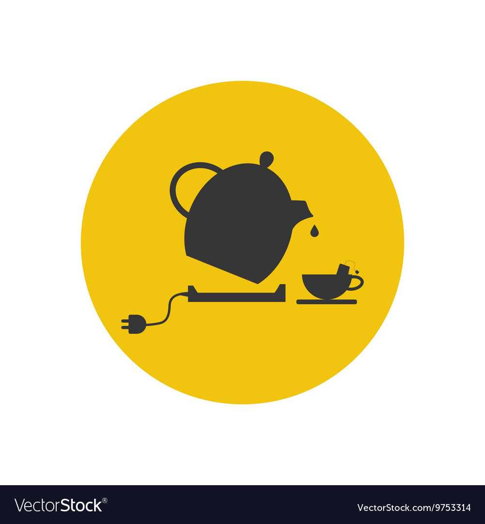Electric kettle and tea cup silhouette