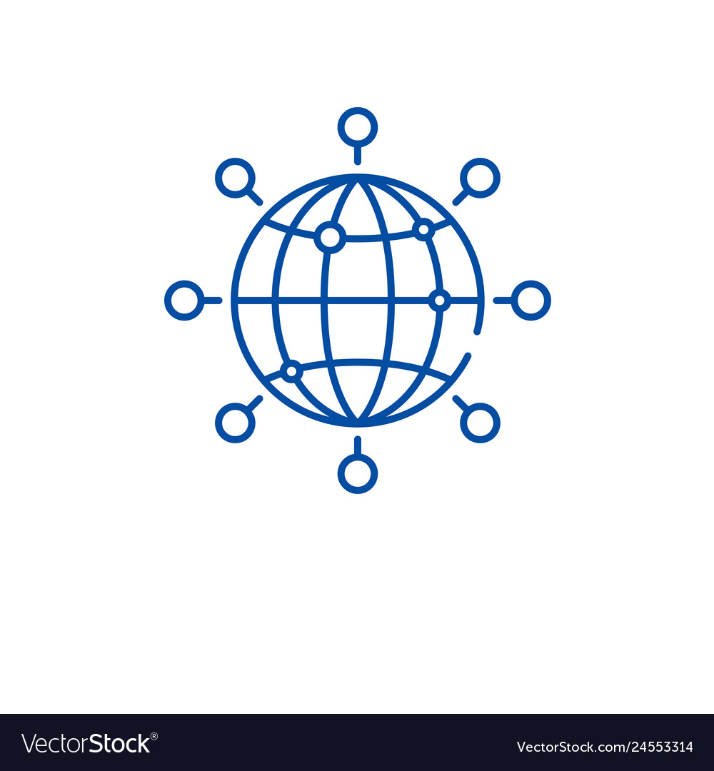 Global connection line icon concept global