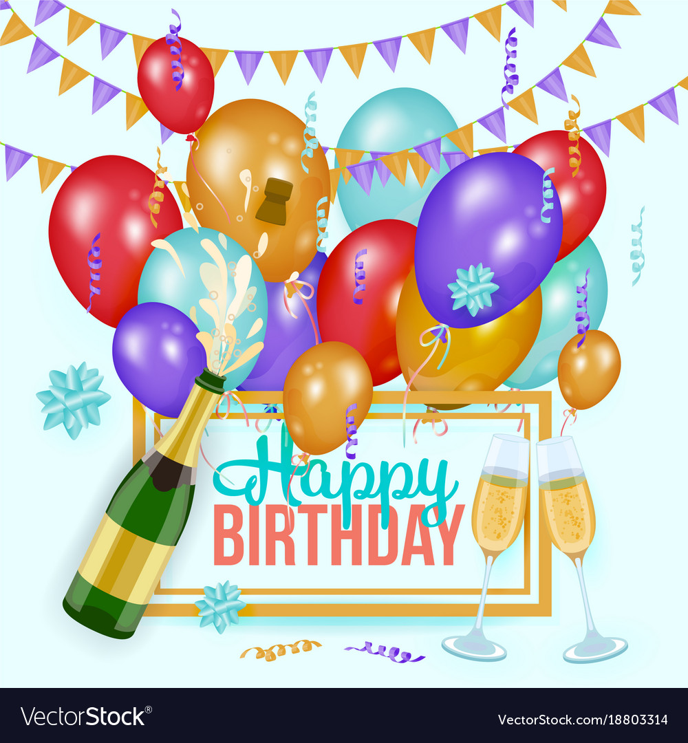 Happy birthday greeting card template champagne vector image m4hsunfo