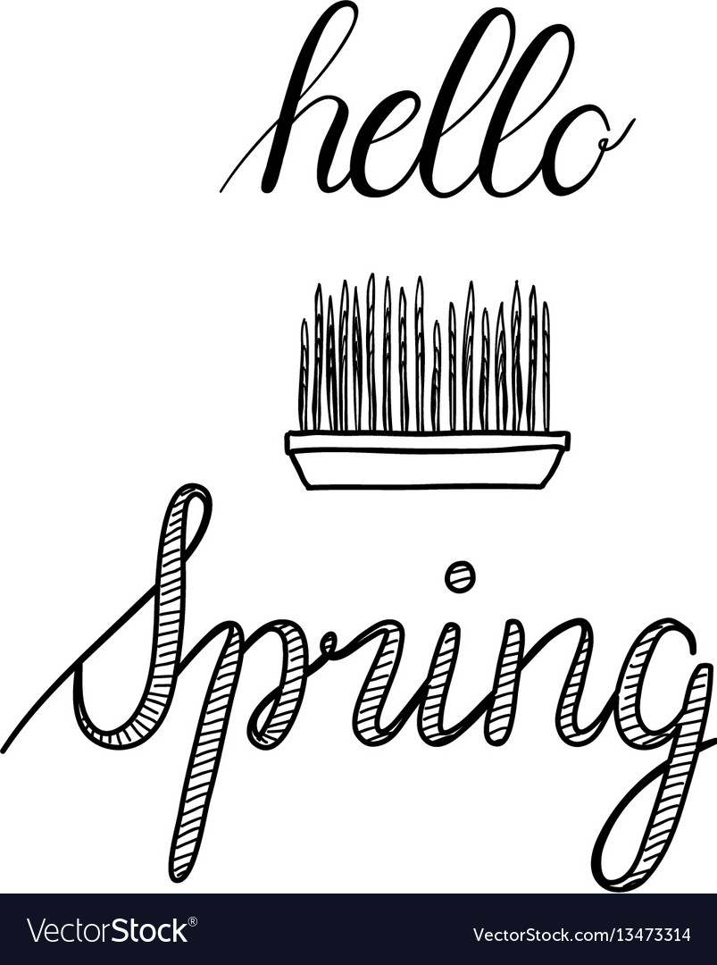 Hello spring calligraphy hand-drawn