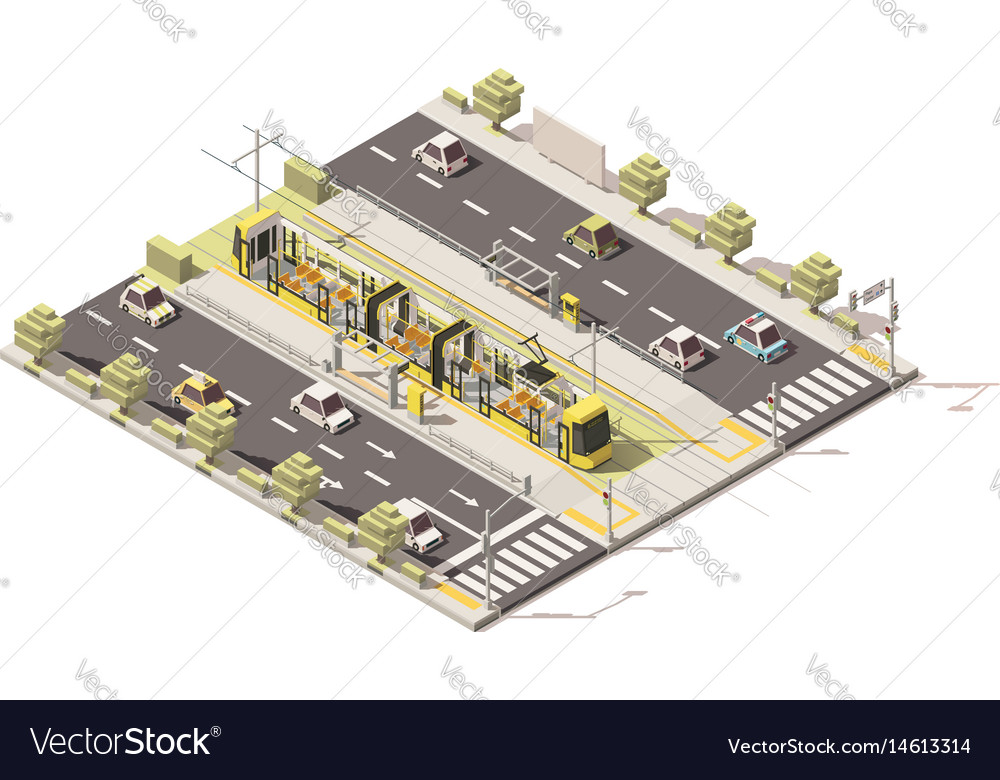 Isometric low poly dedicated tram lane