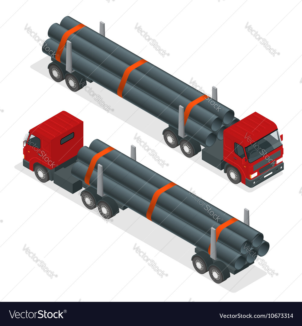 Isometric Truck Tractor With Flatbed Trailer Vector Image