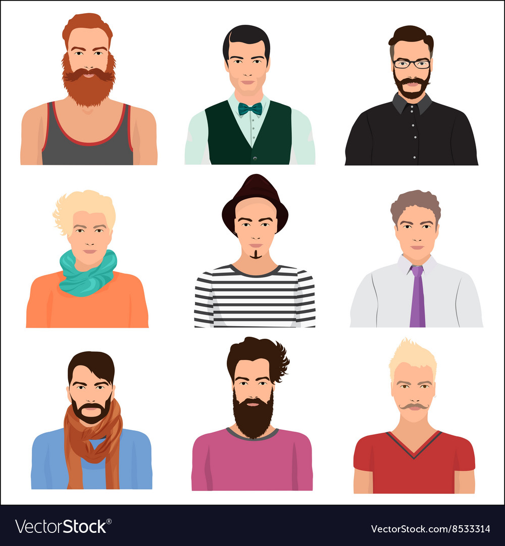 Male man character faces avatars in