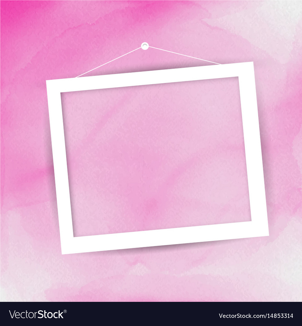 Picture frame on watercolour background vector image