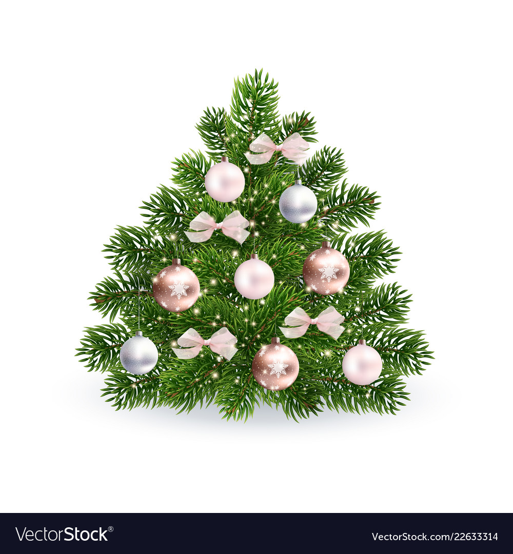 Realistic Christmas Green Tree With Rose Gold Toys