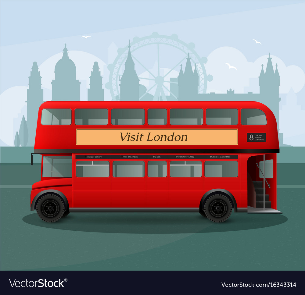 Realistic london double decker bus