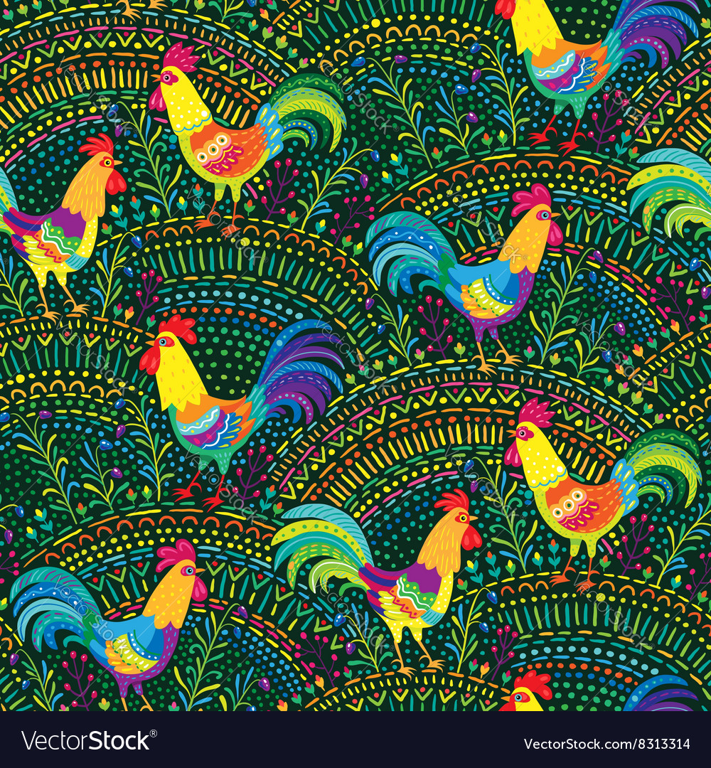 Roosters pattern green vector image