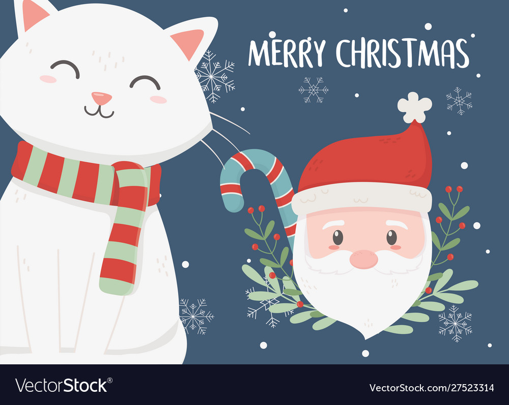 Santa and cat candy cane merry christmas card