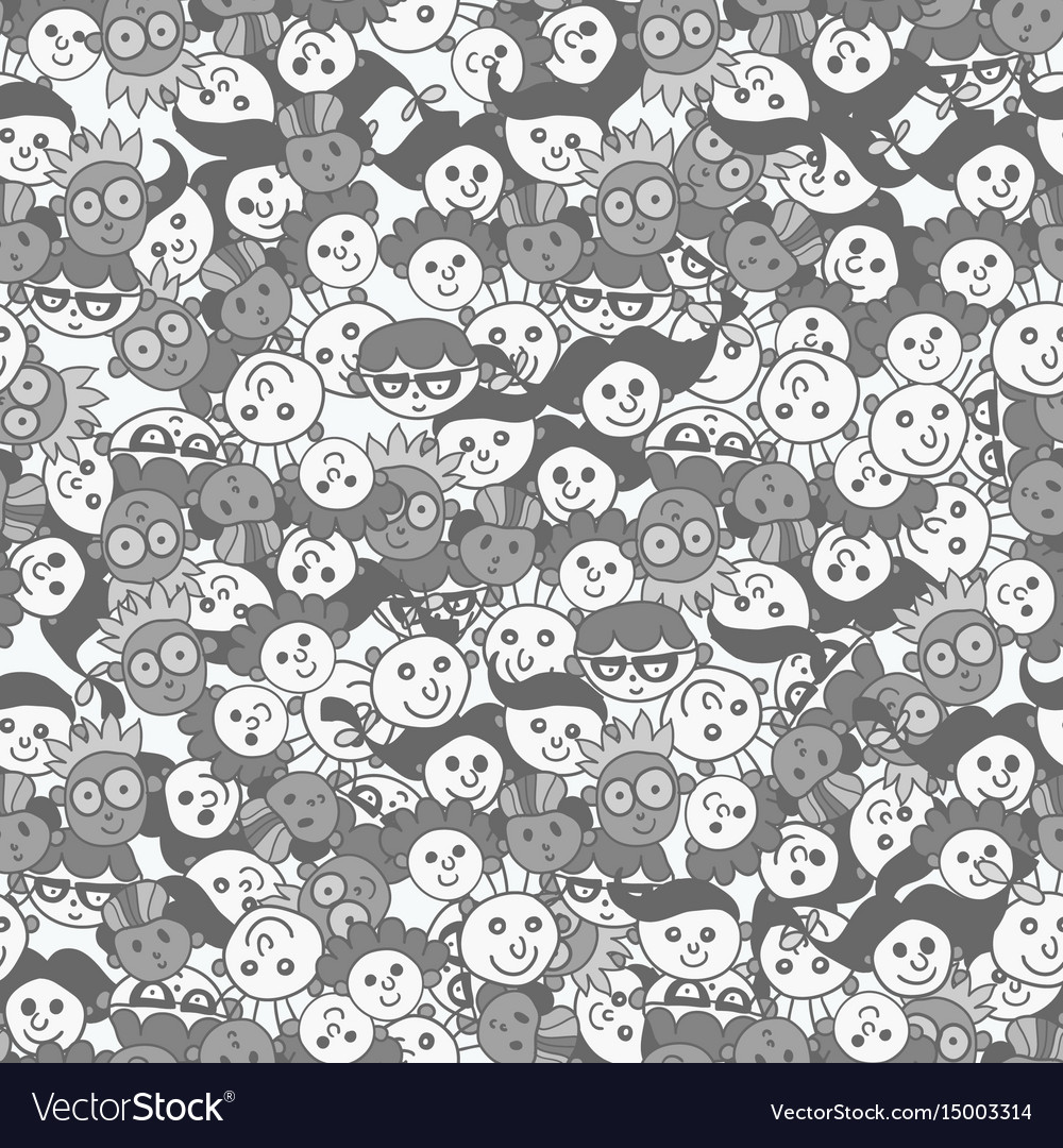 Seamless pattern with cute faces of children