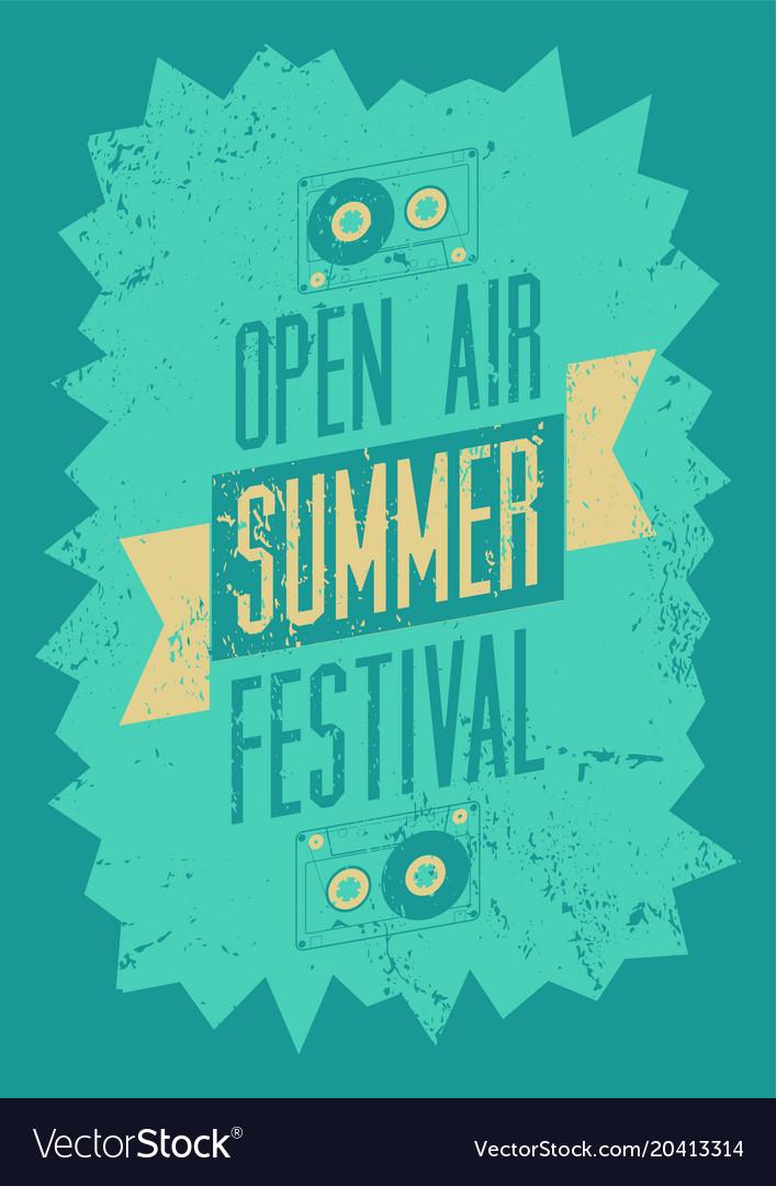 Summer festival typography vintage grunge poster vector image