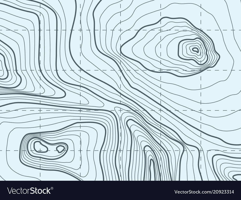 Topographic contour line map with mountain