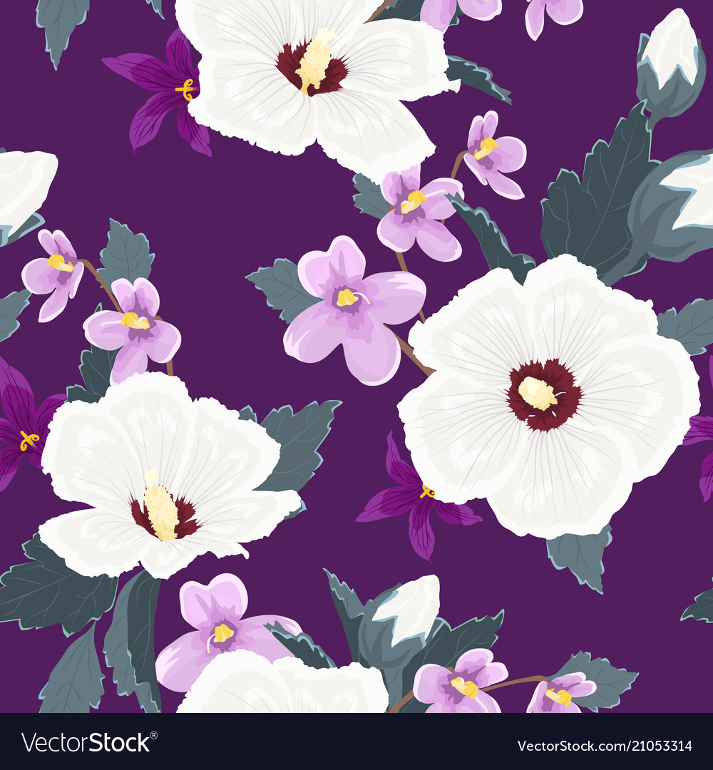 Trendy floral seamless pattern exotic tropical