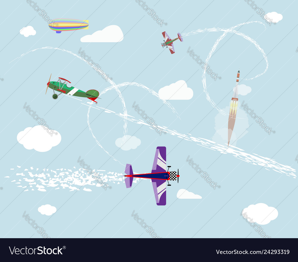 Airshow flight of airplanes and airship in the