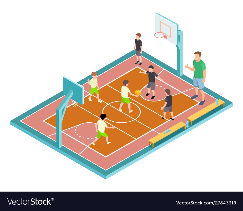 Basketball training children play basketball