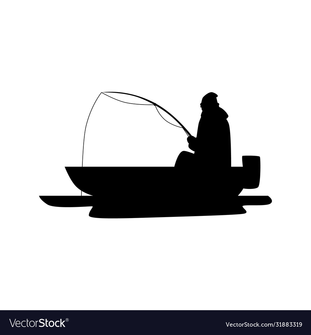 Black Fisherman Silhouette Sitting On A Boat With Vector Image