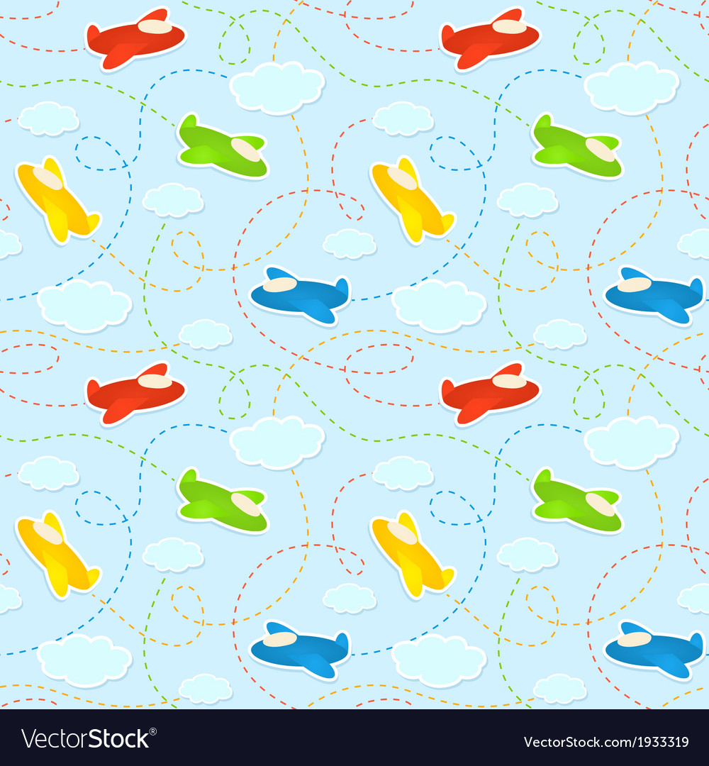 Blue seamless pattern with clouds and airplanes