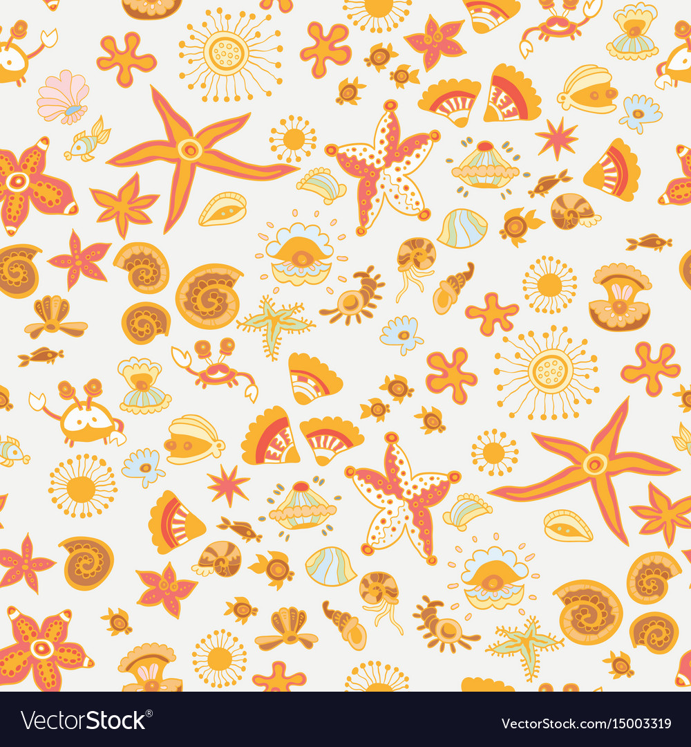 Doodle kids sea animals seamless pattern