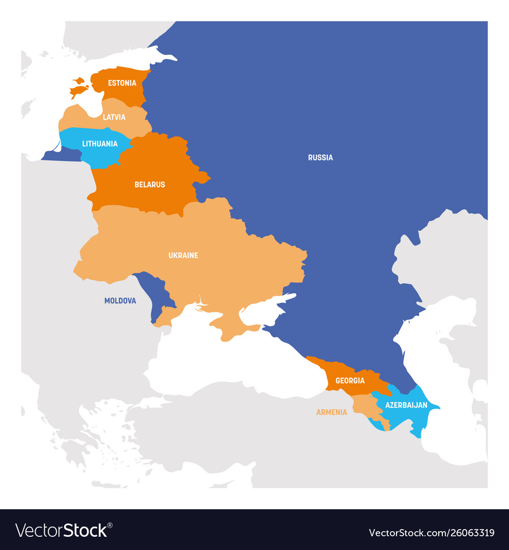 East Europe Region Map Countries In Eastern Vector Image