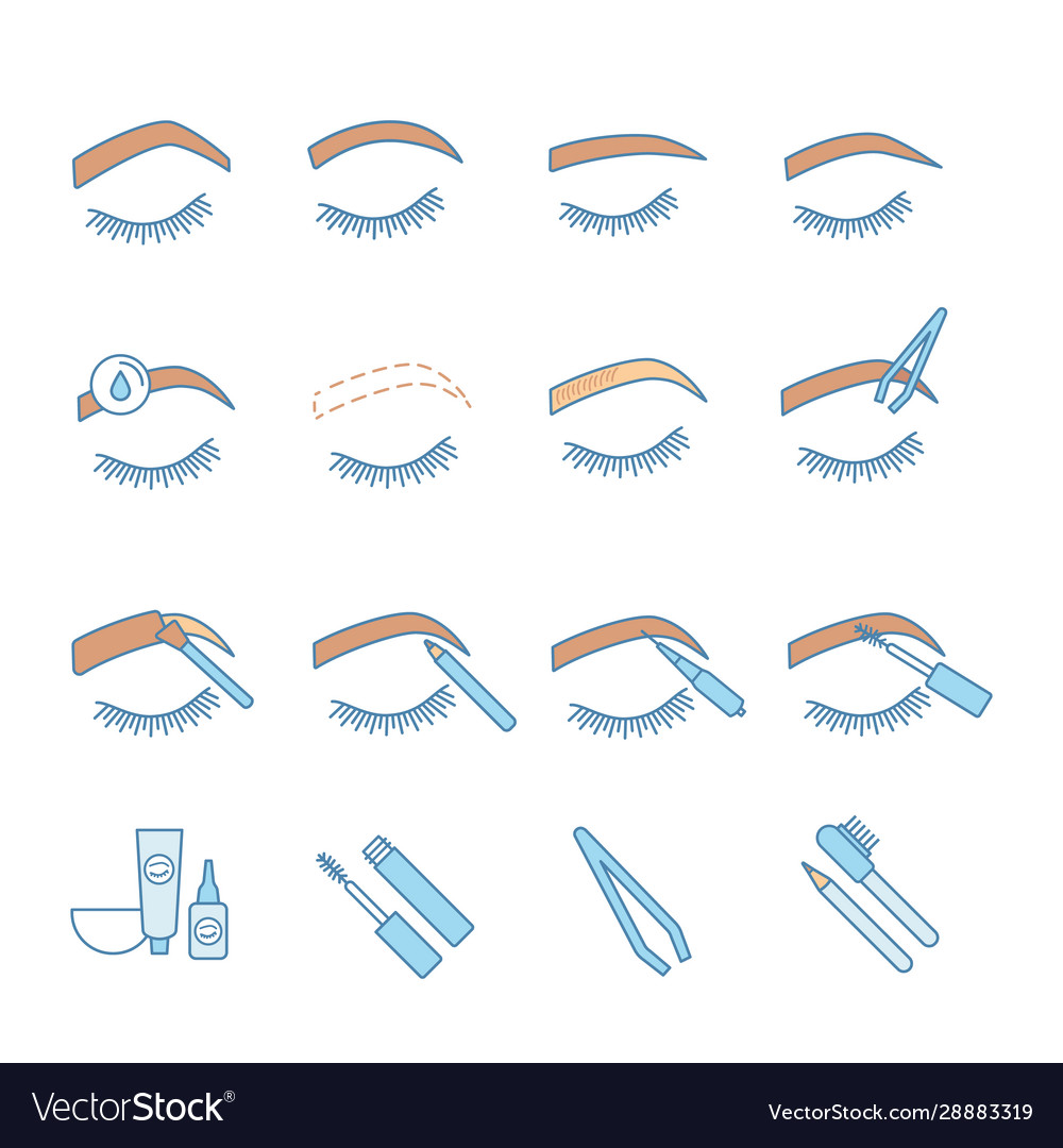 Eyebrows shaping color icons set