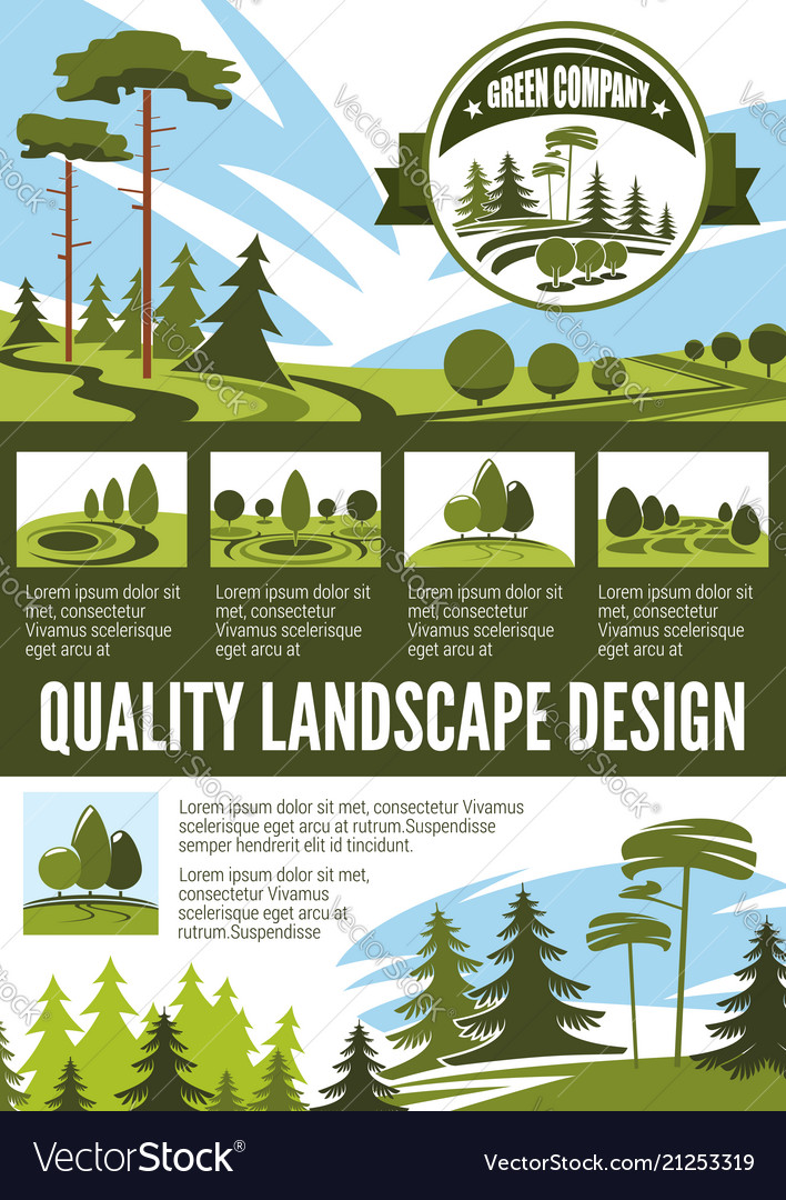 Garden And Park Landscape Architecture Poster Vector Image