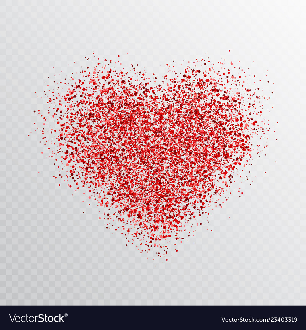 Glitter red heart isolated on transparent