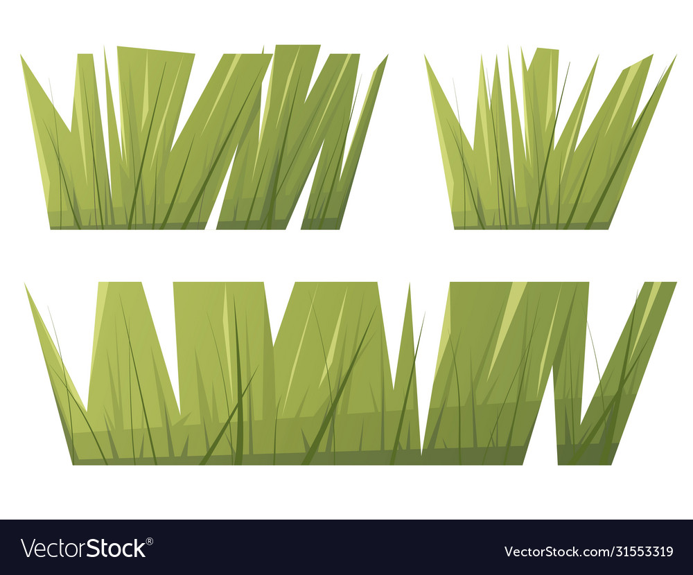 Green grass in flat cartoon style