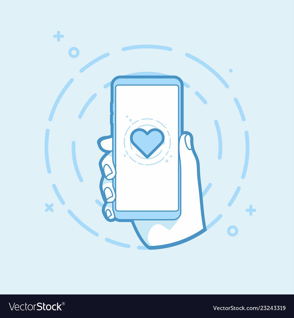 Heart shape icon on smartphone screen