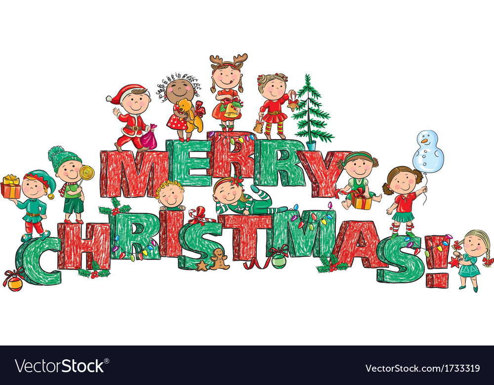 Merry Christmas kids on letters Royalty Free Vector Image