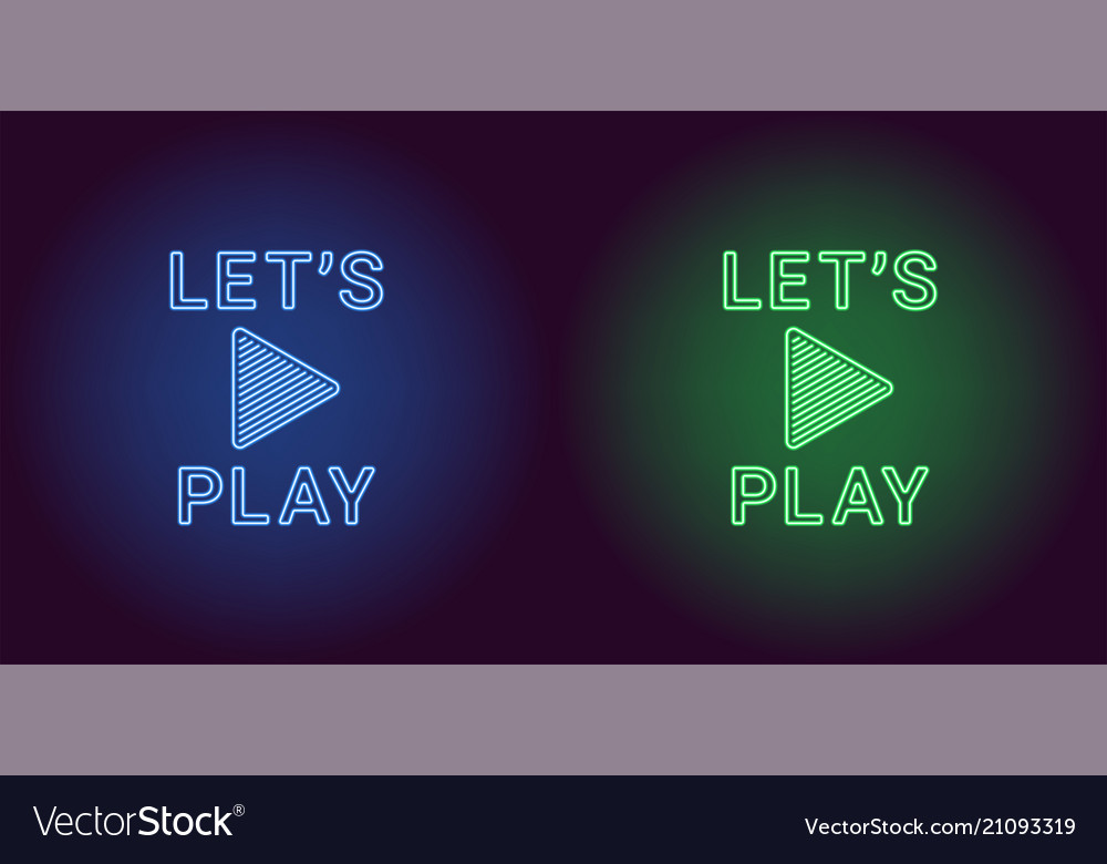Neon icon of blue and green lets play
