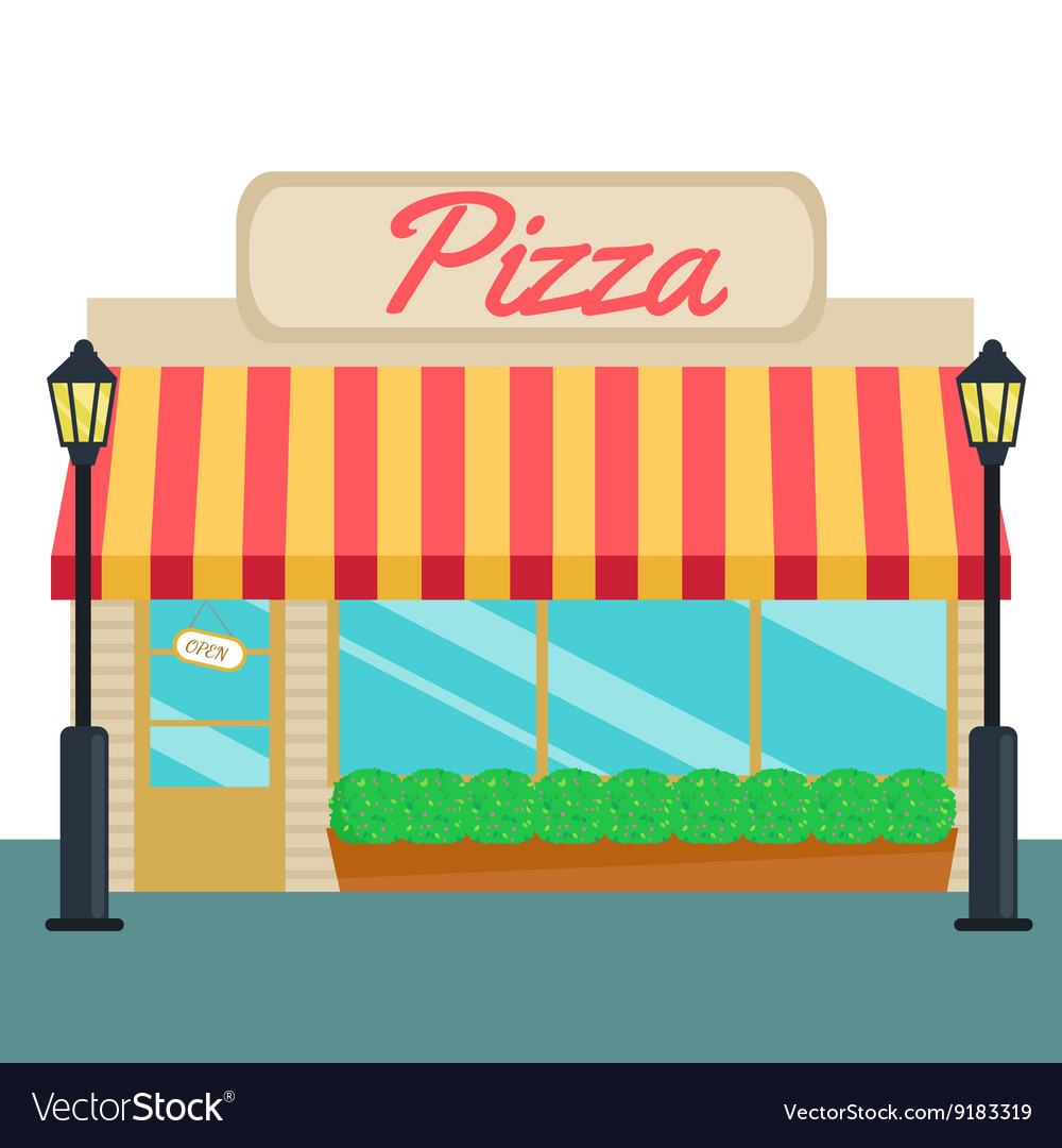 Pizza shops and store front flat style