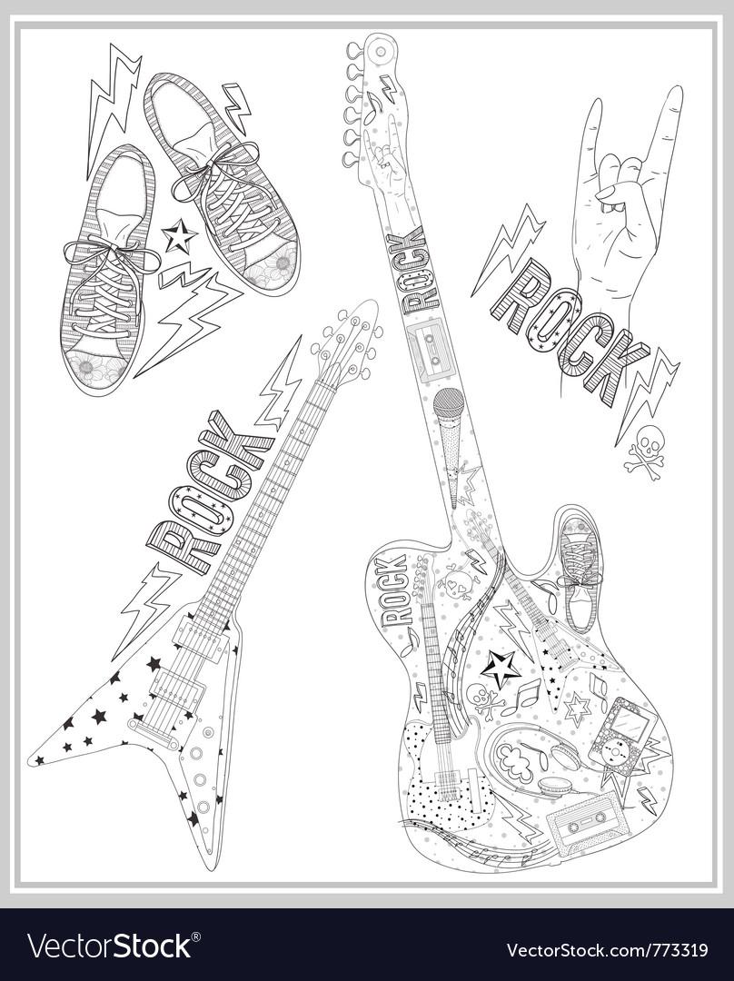 Rock music design elements set vector image