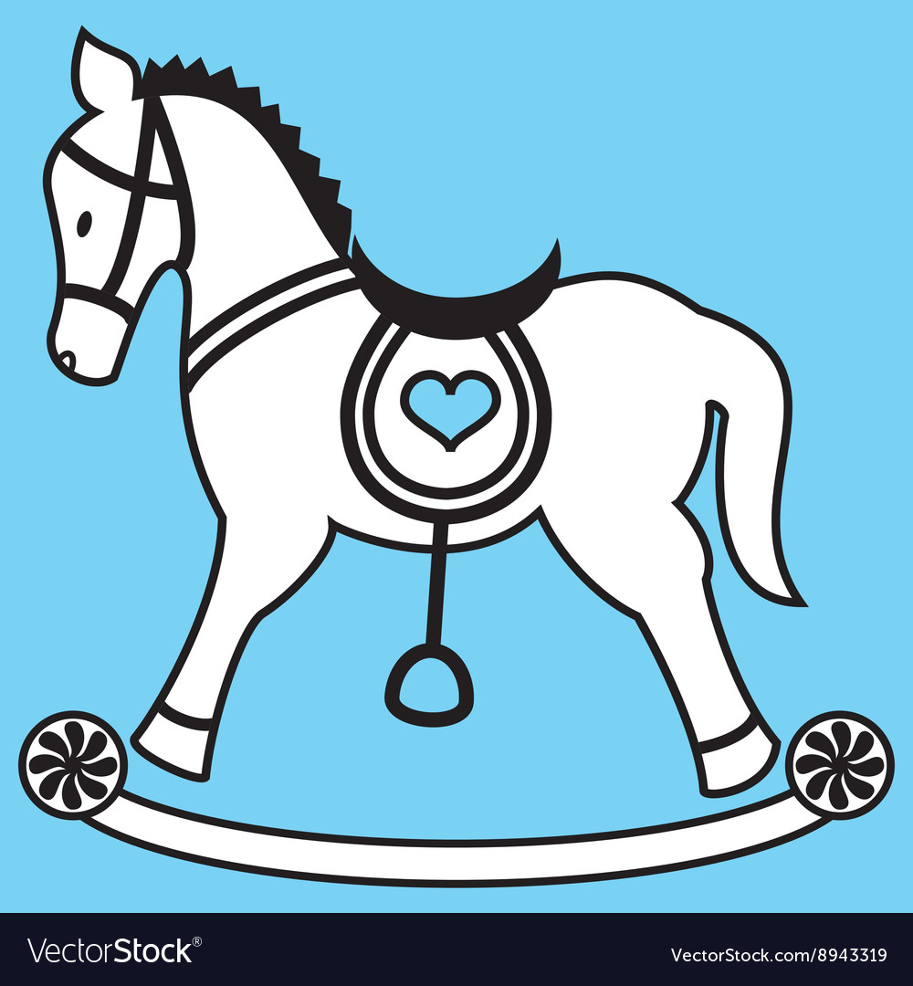 Rocking horse on blue background