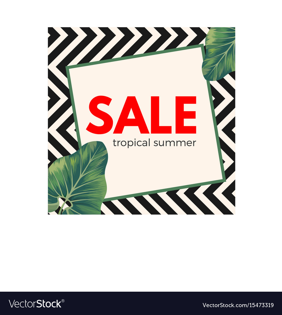 Sale tropical summer poster on ornamental zigzag