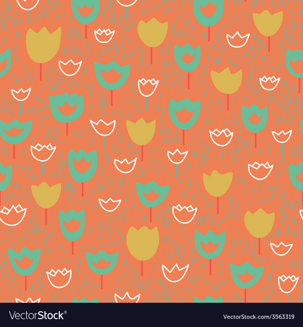 Seamless pattern with tulips and grass Pastel