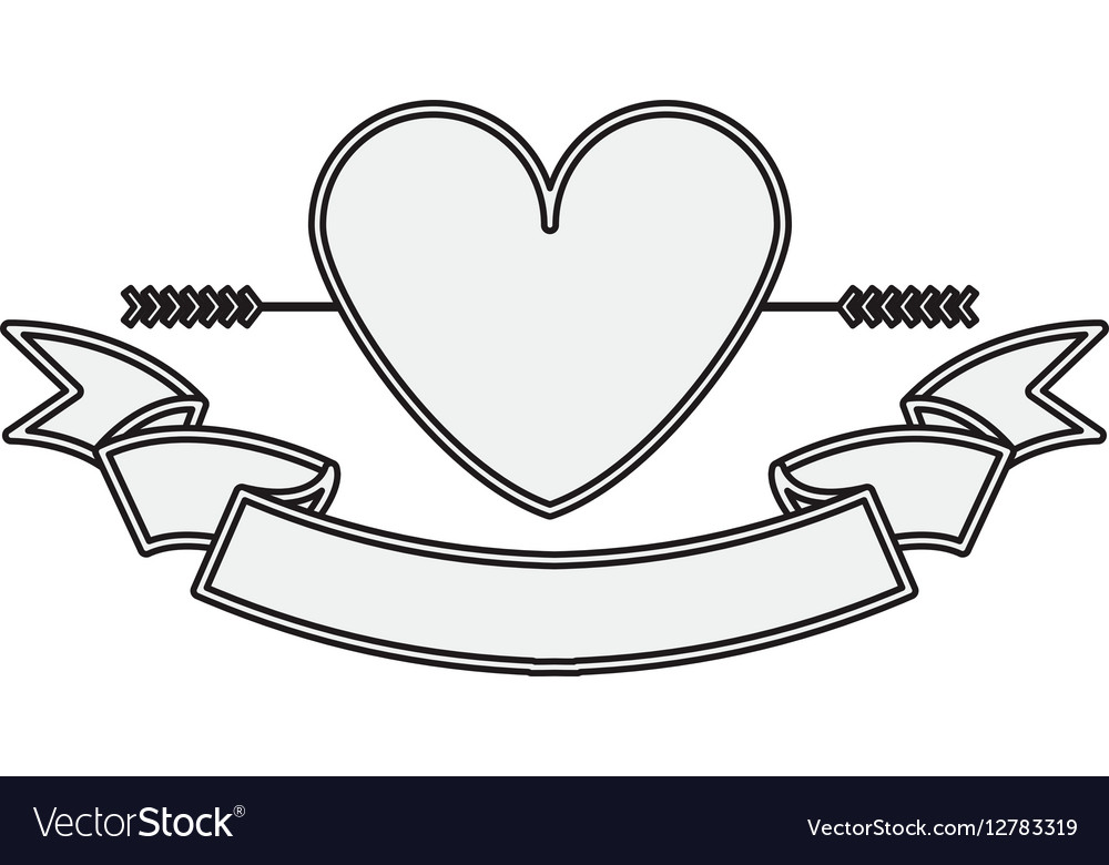 Silhouette heart crossed by arrow and label vector image