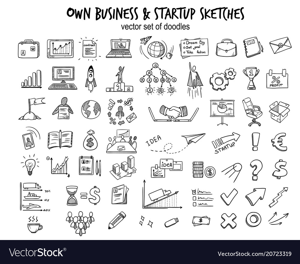 Sketch business startup elements collection