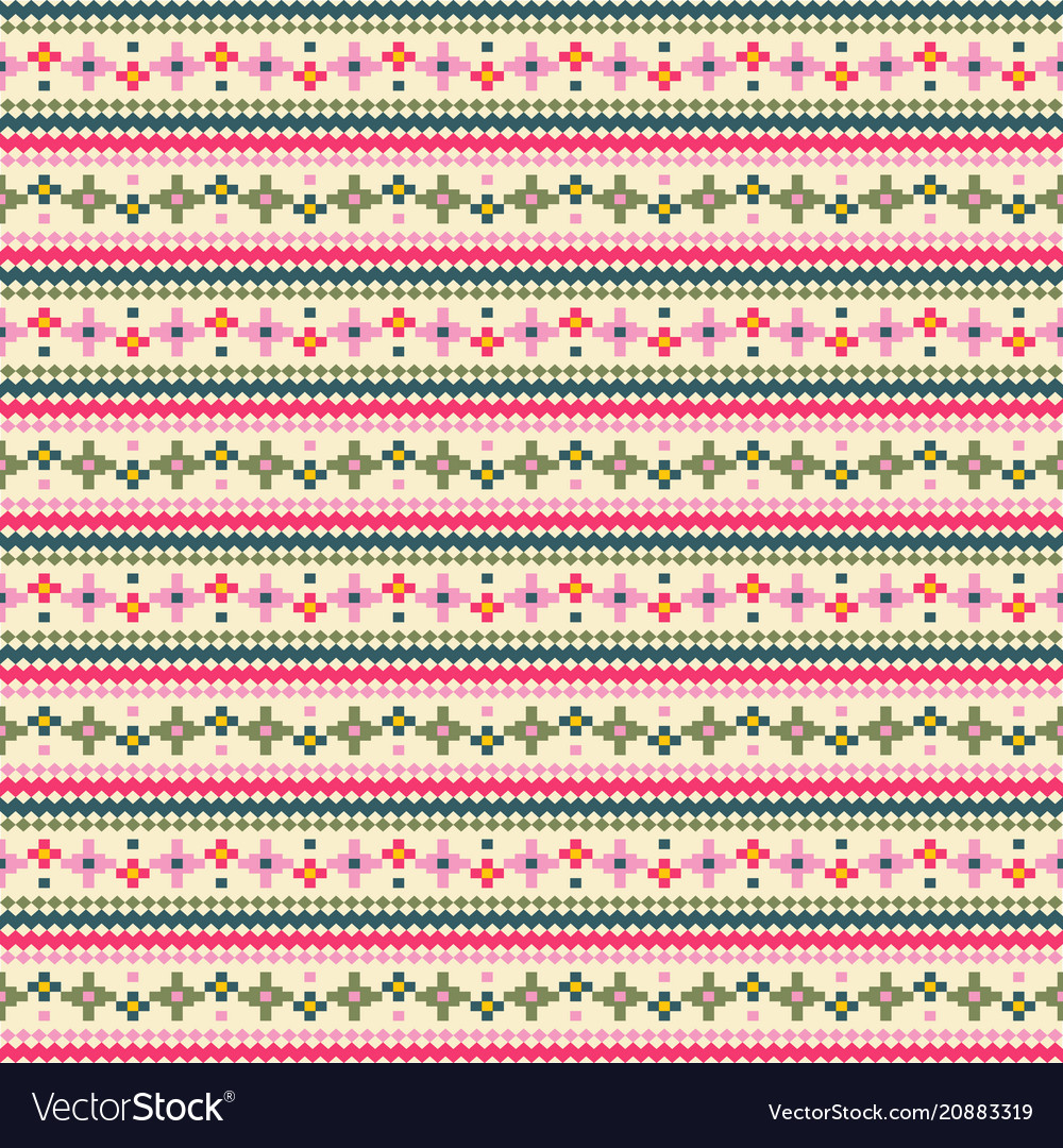 Tribal flower stripes seamless pattern ethnic