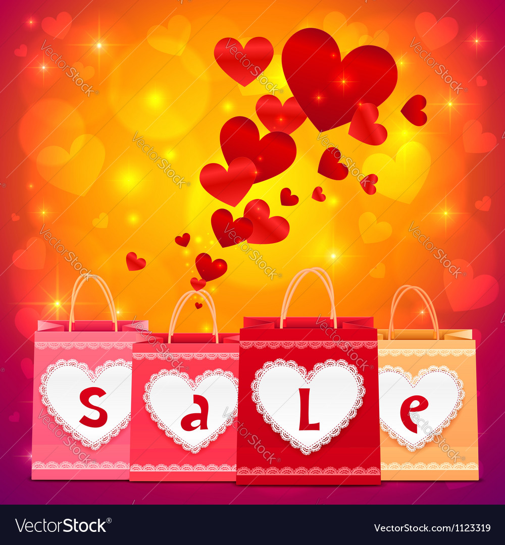 Valentines day shopping bags greeting card vector image m4hsunfo