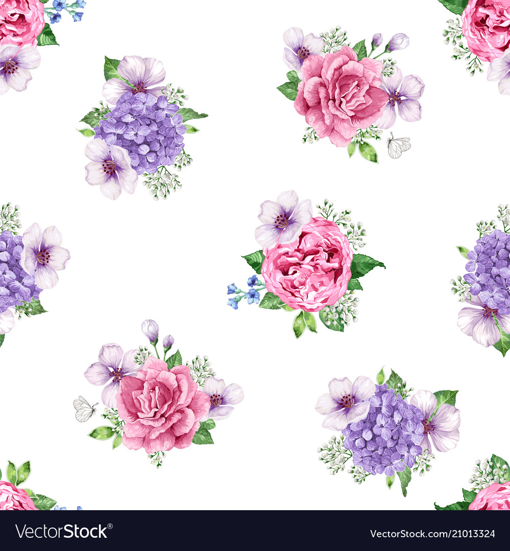 Apple tree roses hydrangea flowers petals and vector image