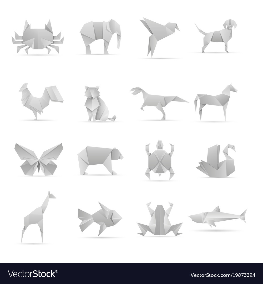 Asian Creative Origami Animals Collection Vector Image - Origamis-animales