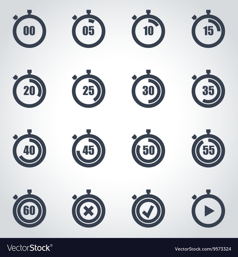 Black stopwatch icon set vector image