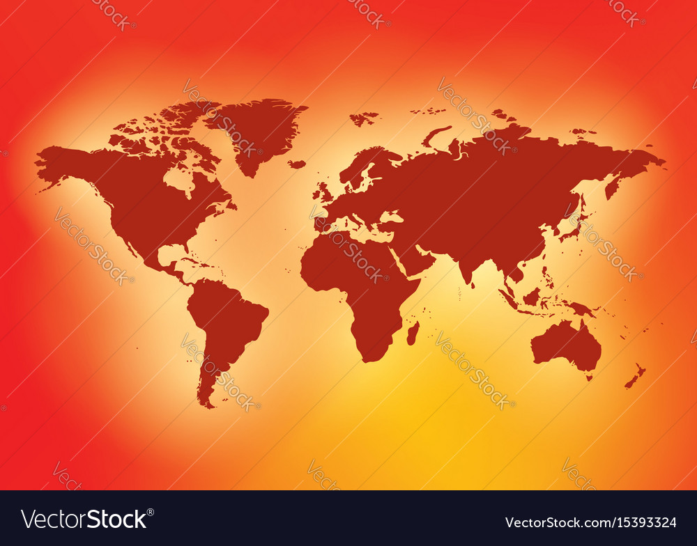 bright red background with dark red map world vector image